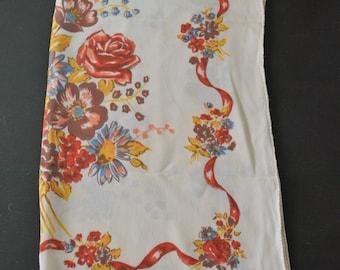 SALE - 1950s Silk Floral Print Long Scarf