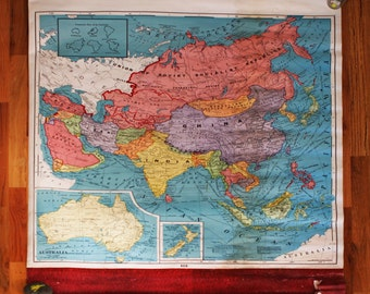 Vintage School Map, Classroom Chart, Asia, Crams, Bright Colors