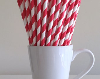 Red Paper Straws Red Striped Straws Party Supplies Party Decor Bar Cart Cake Pop Sticks Mason Jar Straws  Party Graduation