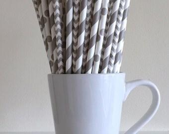 Gray Paper Straws Grey Silver Striped, Chevron, Polka Dot Party Supplies Party Decor Bar Cart Cake Pop Sticks Mason Jar Straws Graduation