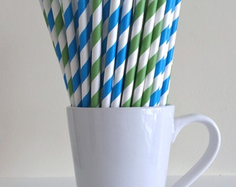 Blue and Green Striped Paper Straws Party Supplies Party Decor Bar Cart Cake Pop Sticks Mason Jar Straws Graduation