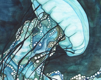AQUA Sea Nettle Jellyfish 8.5 x 11 print of detailed watercolour artwork in dark turquoise blue and teal seaweed green, marine ocean jellies