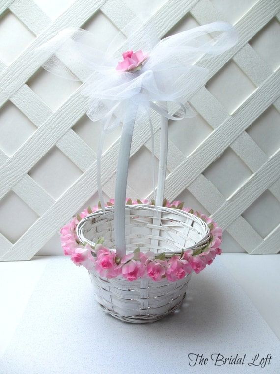 Flower Girl Basket Gray : Items similar to pink rose flower girl basket