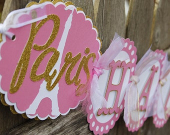 Paris Themed Birthday Banner, French Birthday Banner, Pink and White, Red and Silver