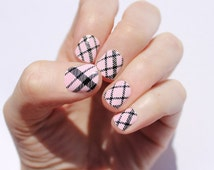 Petal Pink Plaid Nail Wraps