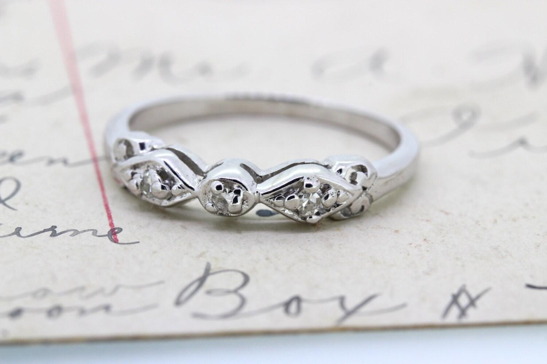 dainty wedding band vintage wedding ring 14k white gold