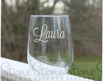 personalized wine glasses, Etched wine glass, stemless wine glasses, wedding wine glass, stemless wine glasses, Etched Wine Glass