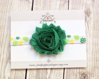 St Patricks Day Headband - Shamrock Headband - Green flower headband - Green Headband - Clover Headband - Irish Headband