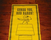 RARE Snoopy Banner- Large Felt Pennant- Curse You Red Baron- Charles Schulz- 1967 -Snoopy poster- Peanuts Collectible- Charlie brown