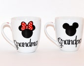 Grandma and Grandpa Coffee mugs // his and hers Mickey and Minnie mouse coffee mugs // set of 2 Grandparents gift // Birthday Gift