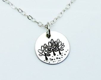Sterling Silver Forest Charm Necklace Hand Stamped Rustic Primitive Oxidized Patina Pendant Nature Lover Made to Order