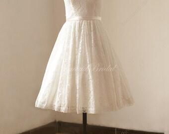 Ivory tea length vintage lace wedding dress