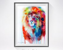 Lion watercolor painting print ,lion art, animal art, illustration, animal watercolor, lion illustration, lion  painting, cat art