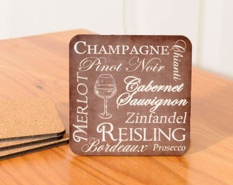 Wine Name Coasters (chalkboard look) - set of 4