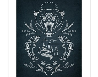 Bear Crest – The Great White North Series, Illustration, Art Print 12x16