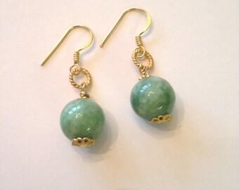 12mm Round Jade Earrings