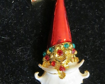 Vintage Christmas Winking Santa Claus Enameled Brooch Pin With Rhinestones - Free Shipping