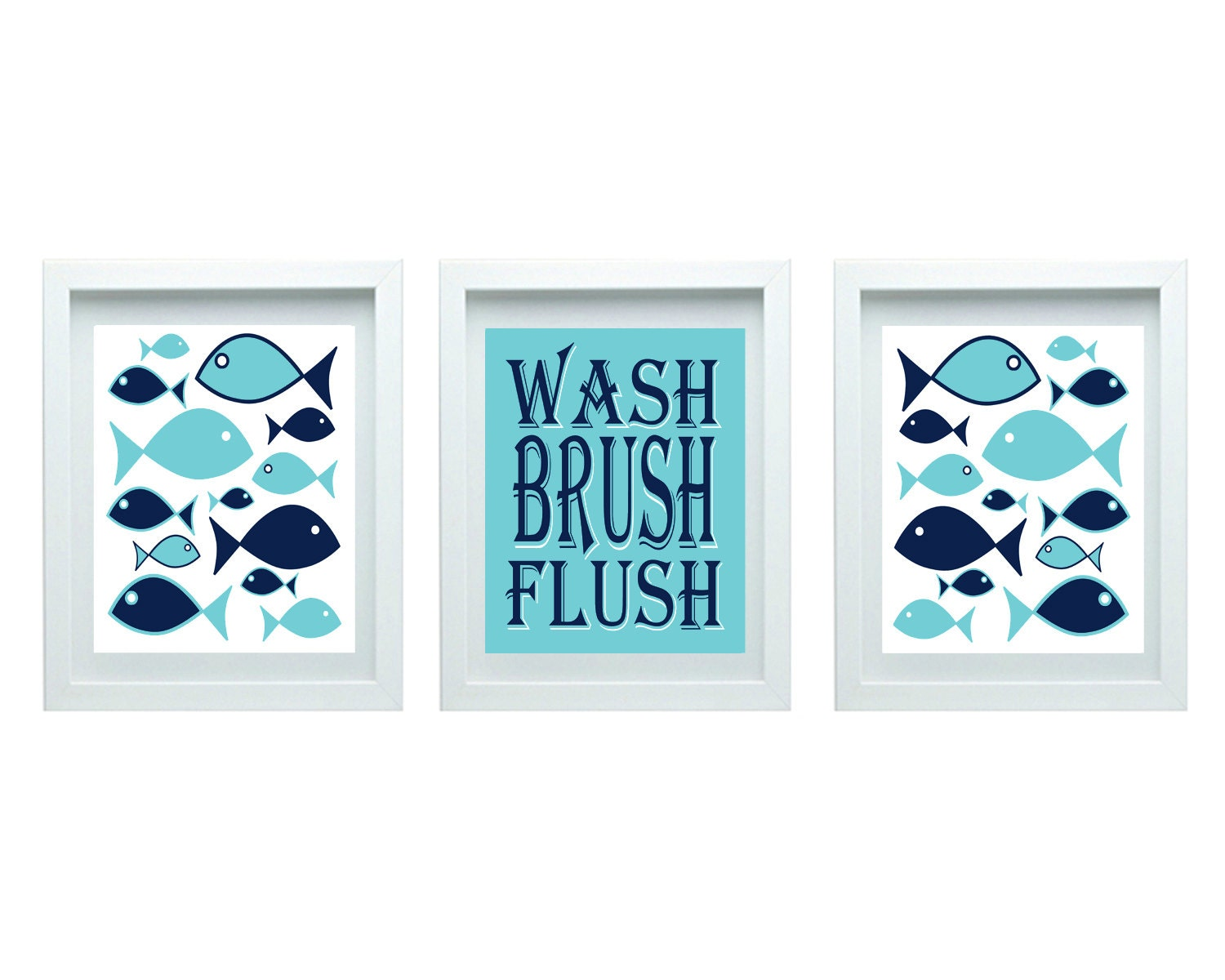 Kids bathroom rules girl or boy bathroom decor fish bathroom for Fish wall decor
