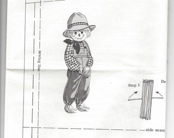 1970s Alice Brooks Designs #7171,  Mail Order Sewing Pattern, Floppy Scarecrow Doll Pattern