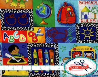 SCHOOL Fabric by the Yard Fat Quarter Primary Color Fabric School Bus Fabric Crayons 100% Cotton Fabric Quilting Fabric Apparel Fabric t3-33