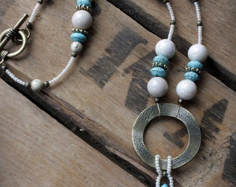 NECKLACE:  Turquoise & Cream, Antique Gold, Bronze, Handcrafted Artisan Quality