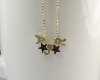 Initial star Necklace,Three Letter Necklace,Gold Uppercase Letter Necklace, three sisters necklace, three best friends jewelry.3 daughters