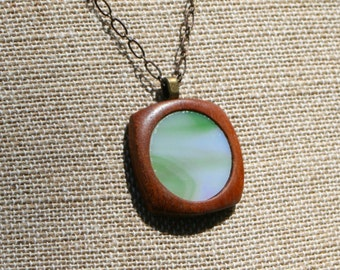 Wispy Green Stained Glass Pendant
