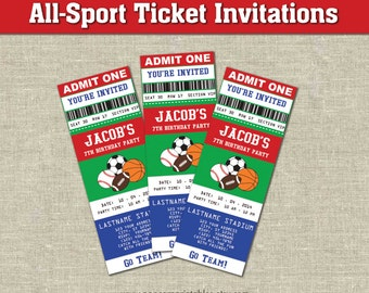 All-Star Sports Ticket Invitations- Printables- Editable Text PDF- Instant Download- Personalize- Adobe Reader-  Red White & Blue- Party