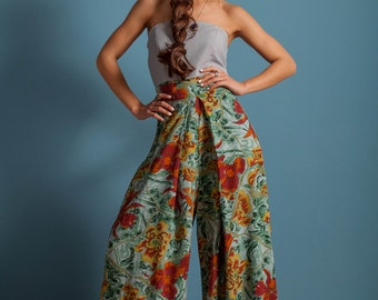 On Sale! Oversized pants, high waist pants, wide legs pants , floral pants, pleated floral pants, loose trousers
