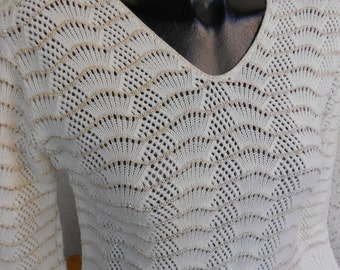 Vintage 70s Cropped Metallic Gold & White Knit Sweater