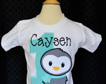 Personalized Birthday Penguin Applique Shirt or Onesie Girl or Boy