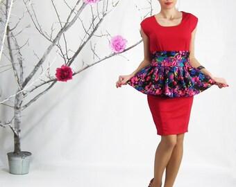 Peplum Belt - Stretch Cotton Peplum Belt, Peplum Mini Skirt, Peplum Belt, Stretch Cotton Peplum Skirt, Floral Peplum Skirt, Full Mini Skirt