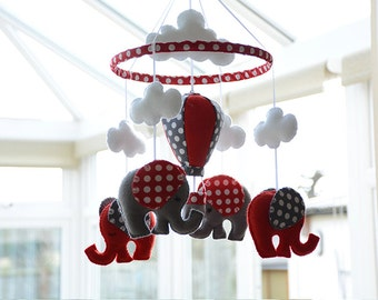Nursery Mobile - Baby mobile - Red Grey Mobile - Hot Air Balloon - MADE TO ORDER