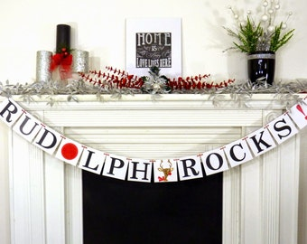 Rudolph Rocks Christmas Banner Christmas decoration Christmas garland Santas Reindeer photo prop