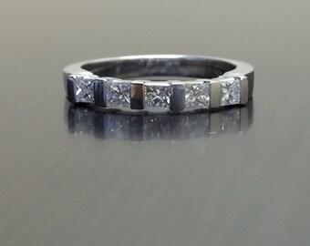 18K White Gold Princess Cut Diamond Engagement Band - 18K Gold Diamond Wedding Band - Channel Set Diamond Band - 18K Five Stone Diamond Band