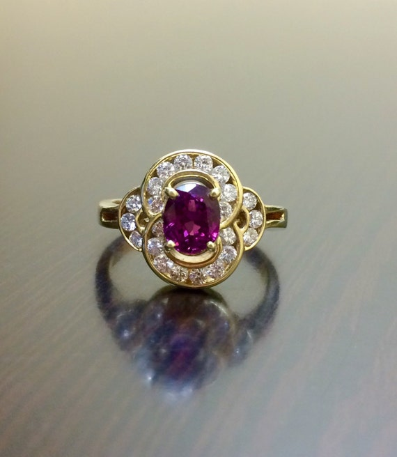 Art Deco Ruby Ring - 14K Yellow Gold Ruby Diamond Engagement Ring - 14K Gold Diamond Ruby Wedding Ring - Diamond Ring - Diamond Wedding Ring