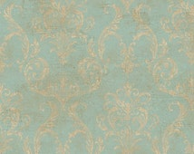 Wallpaper - Antiqued Blue Gold Delia Damask with Fine Aged Crackle - Grunge, Robin Egg, Victorian, Country French - By The Yard - GL4656 so