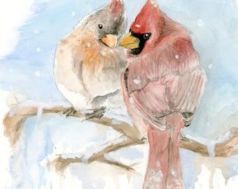 Cardinal Birds Original Watercolor Painting 8x10