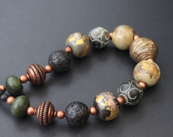 Lampwork, ceramic and bronze necklace