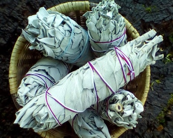 White Sage Smudge Bundle, California White Sage Stick, Sage Smudge Wand, Sage Smudge Bundle, Ceremonial Sage, Organic Sage, Salvia apiana