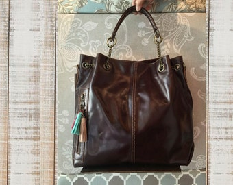 Dark brown leather bag, leather purse, chocholate brown oversized bag, everyday purse