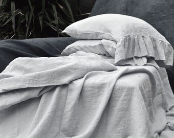 Luxurious light grey stonewashed linen fitted sheet, Single/US Twin, US Full / Double, Queen and King sizes available