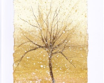 mixed media tree on handmade paper.