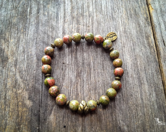 Intentions bracelet Chakra yoga - Unakite - Intention Balance compassion - Mala inspired boho jewelry mariposa