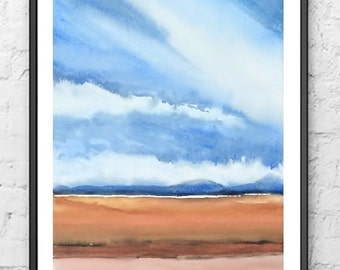 Landscape Abstract Watercolor Painting, Farm Print Art Landscape Wall Art,Farmland Painting,Brown Earthtone Color,Sky Painting,Cloud, Nature