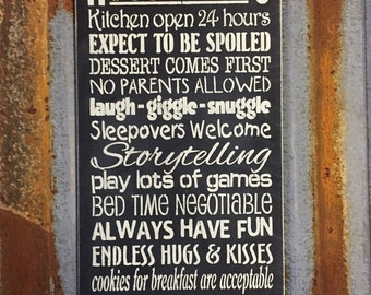 Nana's House Rules - Handmade Wood Sign