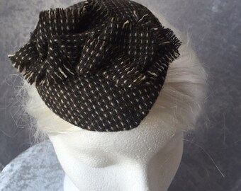 Tweed hat, Tweed fascinator, Tweed headpiece, Tweed comb