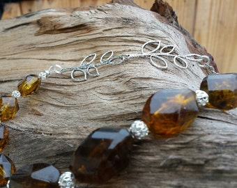 Necklace - Tortoise Shell Resin Bead & Silver Leaf