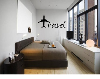 travel wall decal travel with plane decal travel with plane travel decal - Design Wall Decal