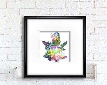Quartz Crystals art print, wall hanging colorful digital illustration of a crystal cluster for instant download